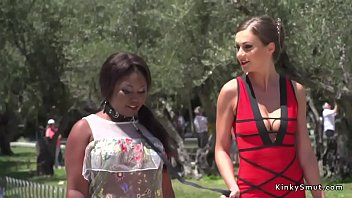 Bbw Ebony Slut Gagged With Huge Dick In Public