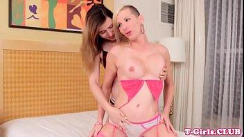 Tgirl twosome beauties assfucking in bedroom
