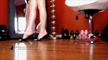 dangling and shoeplay wearing mules