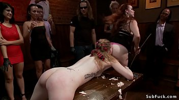Brunette is waxed and fucked in public