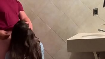 Horny girl can't hold It and fucks her boyfriend on the restaurant's bathroom