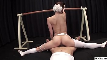 Uncensored Japanese milf ballerina threesome with splits