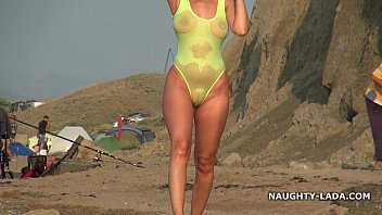 Myrtle beach lingerie - Transparent swimsuit and nude on the beach