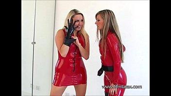 Dancing latex lesbians Dannii Harwood and Tanyas kinky fetish games in red fetishwear