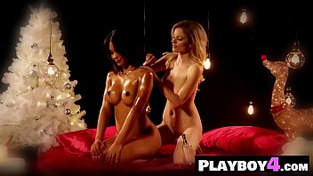 Two horny petite lesbians passion oiled body massage