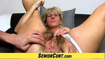 Senior swinger chat Hairy old pussy close-ups and fingering with grandma hanna