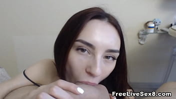 Hot Skinny Babe Hand job on a Thick Cock
