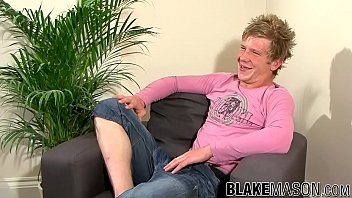 Blonde Brit twink playfully strokes his dick and cums loads thumbnail