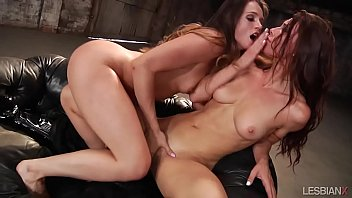 Naughty Lesbians On Leather Sofa