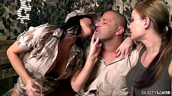 Busty Army Lovers Jasmine Jae & Abbie Cat Share Huge Dick At Army Base