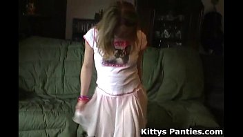 Naughty teen upskirt Tiny teen kitty in a cute little pink skirt