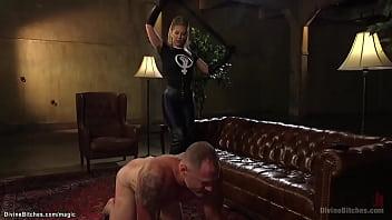 Stunning blonde femdom fucking man
