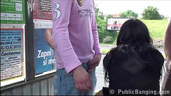 Hot basty girl fucked hard on PUBLIC bus stop by 2 guys with big dicks