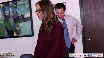 Cutie in glasses Presley Hart fucks in the office