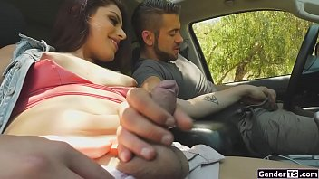 Trans hitchhiker Crystal M outdoor anal