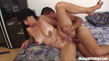 Milf fucking hard - Son gets ridden by horny brunette stepmom