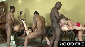 Guys giving anal to guys Hot anal orgy with four mature sluts and four bbcs