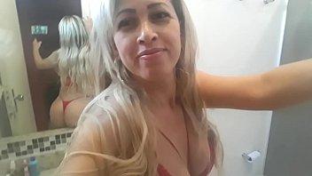 Mirella in Rio de Janeiro getting ready in the bathroom