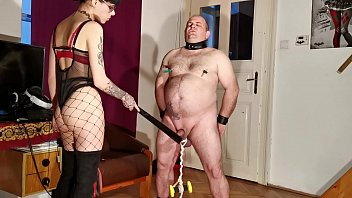 Cfnm bondage Goth domina painful cbt bellypunch her fat slave pt1 hd