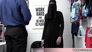 Cute Muslim chick tried to conceal some stolen stuff under her clothes
