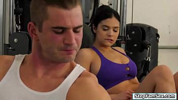 Nympho latina fucking a guy in the gym pornhub video
