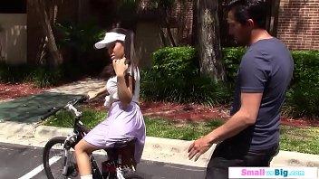 Busty petite teen cyclist rides big cock