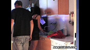 Cute amateur teen girlfriend fucked in the kitchen
