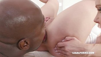 XXXtreme interracial DP group sex scene with Florane Russell and Sindy Rose