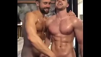 Muscled enjoying each other