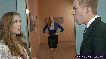 Office boss fucks his secretary and a busty MILF assistant