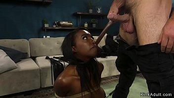 Ebony wife is fucked in bondage