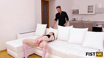 FIST4K. Teen slut in pink high socks has carnal fun with mans fist