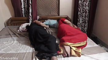 Desi hot Bhabi and sexy aunty fucking with young boy, Desi Threesome sex