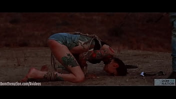 Beautiful, tall Rocky Emerson submits to a hard caning, face fucking, and rimming session on a dirty plateau in the California Hills 7 min