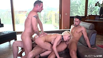 Busty lovers get to watch blonde babe Kitana Lure swallow & fuck 3 cocks