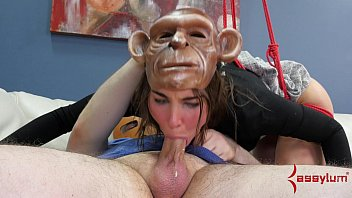 Hot girl turned into monkey for rough anal humiliation session