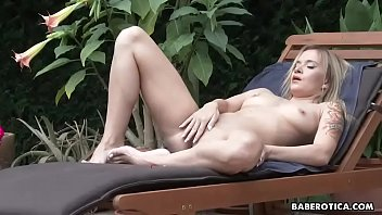 Solo blonde girl, Angel Piaff is dildoing pussy in 4K