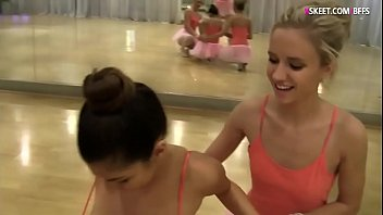 Pretty ballerinas intimate lesbian sex in ballet studio
