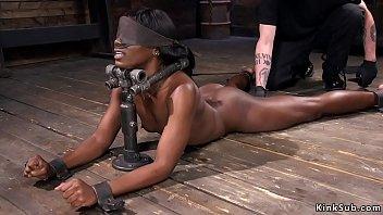 Ebony in device bondage fucked