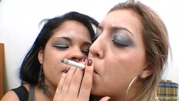 Lesbian smoking kisses Smoking and kiss - wet unstoppable tongues and plump lips