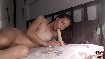 Slutty Brunette Plays with Dildo and Vibrator