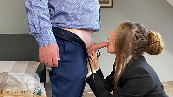 Sexy woman in business suit Secretary gets face fuck and deepthroat