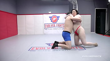 Nude Wrestling As Amilia Onyx Jerks Off Marcelo Before Strapon Fucking Him