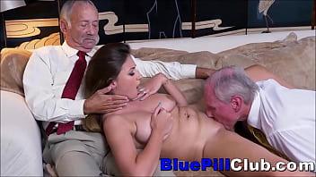 Big Tits Teen Whore Sucks & Fucks 2 Old Geezers