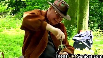 All natural nasty teen slut slammed hard in the forest by senior guy thumbnail