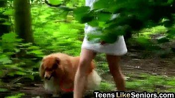 All natural nasty teen slut slammed hard in the forest by senior guy