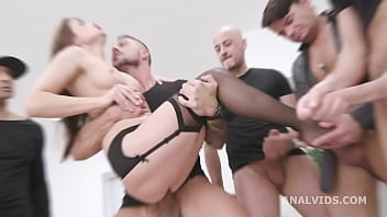 8on1 Triple Anal Gangbang with Nicole Black, Balls Deep Anal, DAP, TAP, Big Gapes and 8 Creampies GIO1649