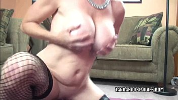 Busty MILF Melissa Swallows takes a strap-on in her twat