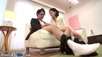 Japanese Busty Teen Takes Care Of Her Man