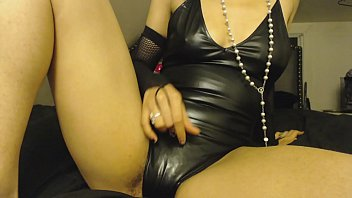 Rubbing Pussy in Latex Leather Bodysuit, Mildly Hairy